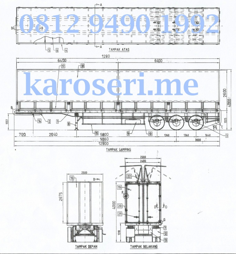 Desain Teknis Karoseri Wingbox Trailer 01